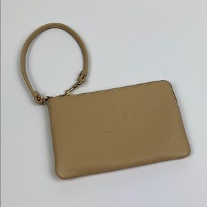 Coach Embossed Small L-Zip Wristlet Leather Wallet